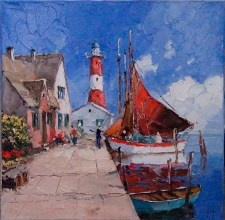 917542 Dock with Lighthouse and Boat