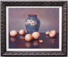 215304 Five Onions, Garlic, and a Blue Vase